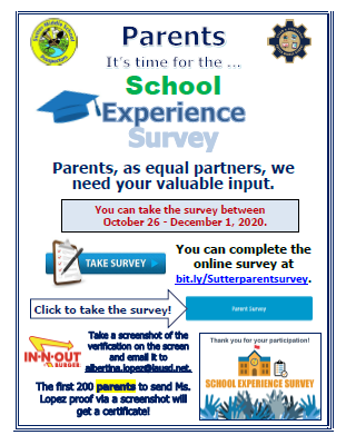 Parent School Experience Survey / Encuesta de experiencia escolar para padres Featured Photo