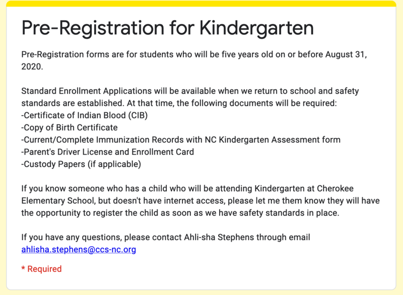 Kindergarten Pre-Registration Form