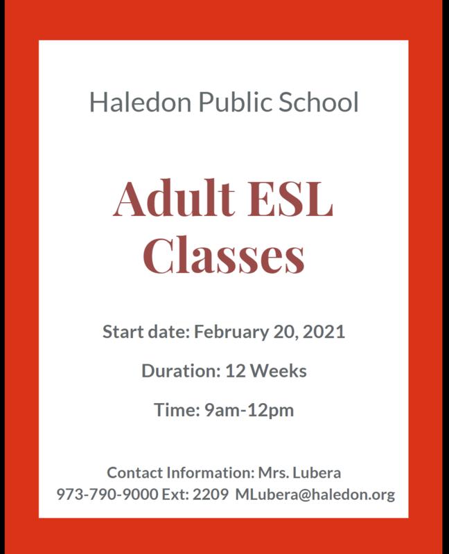 Flyer for Adult ESL Classes