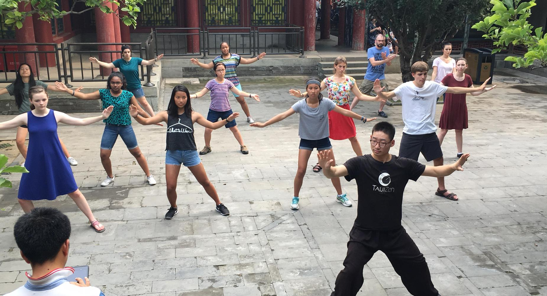 Students in China exercising