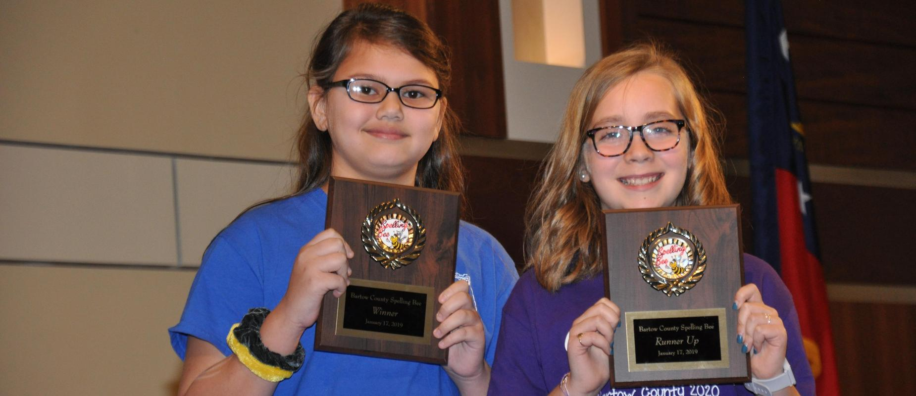 Spelling bee winner, Leilah Bedford, and runner-up, Mary Harris Gambill!