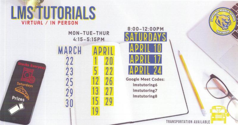 LMS tutorials start on March 22 4:15-5:15 pm