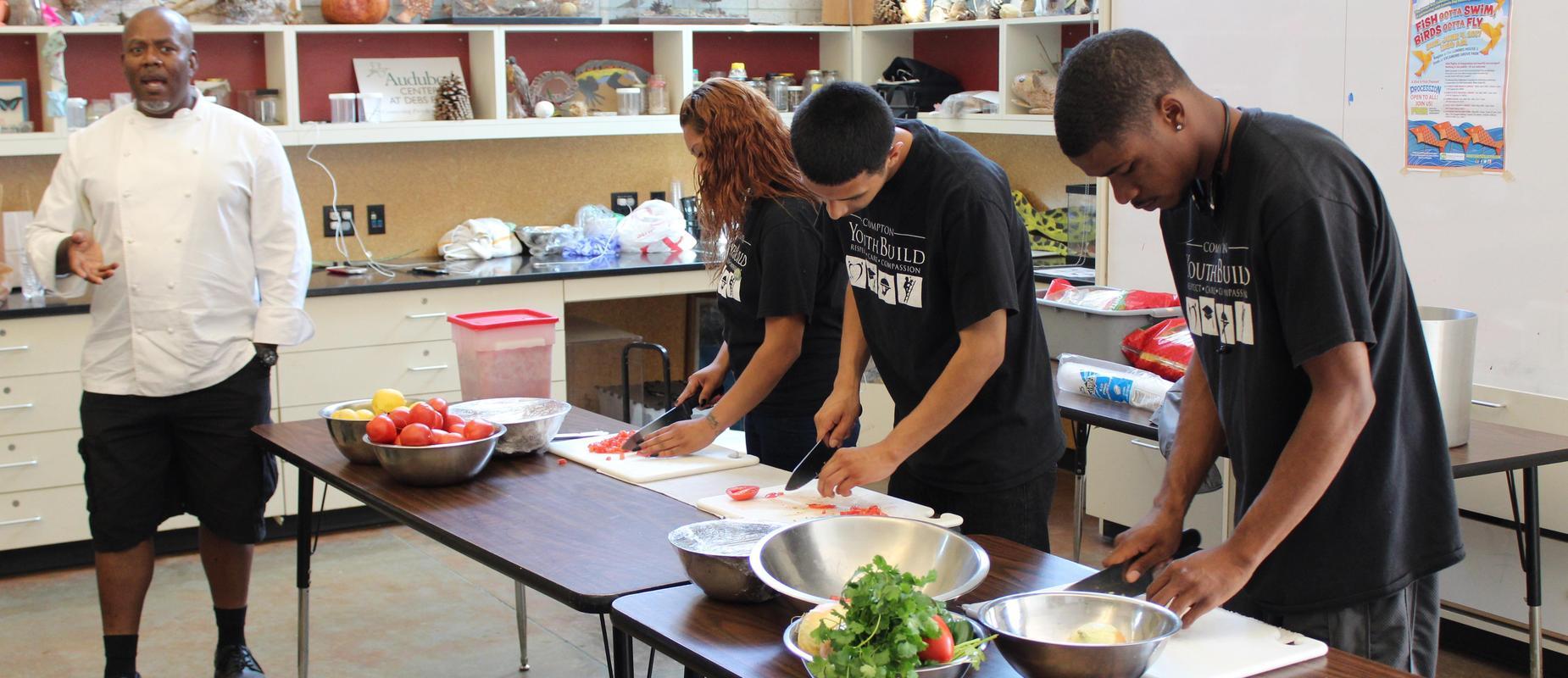 Compton Culinary students preparing salsa