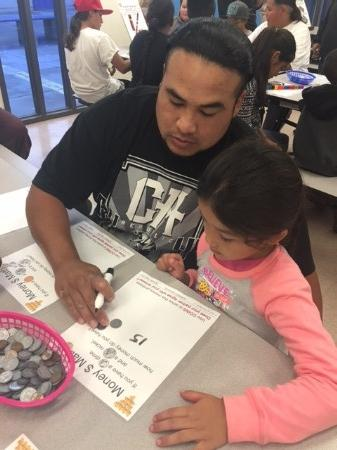 Father helping his daughter with math money