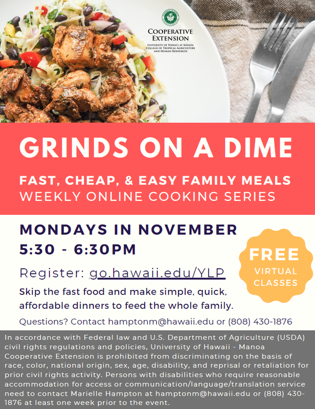 Grinds on a Dime Cooking Series Flyer