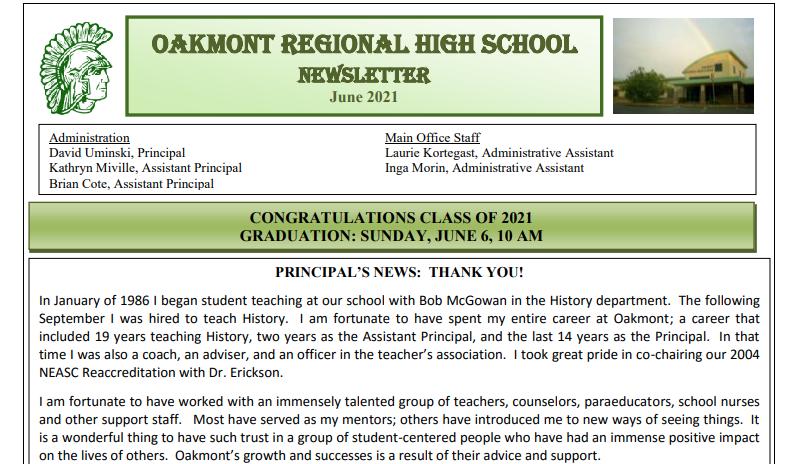 Oakmont Newsletter - June 2021 Edition Featured Photo