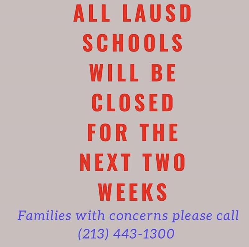 LAUSD Schools Closed for Two (2) Weeks Featured Photo