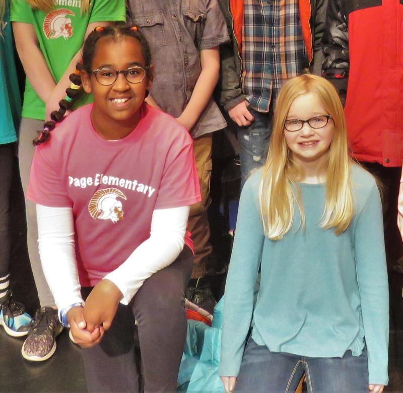 Emersyn Gorman (right) won the Page Elementary Spelling Bee with Exley Roon named the runner-up.