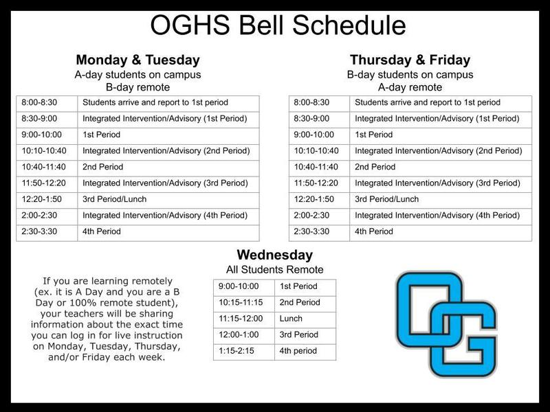 OGHS Bell Schedule beginning Sept 14th