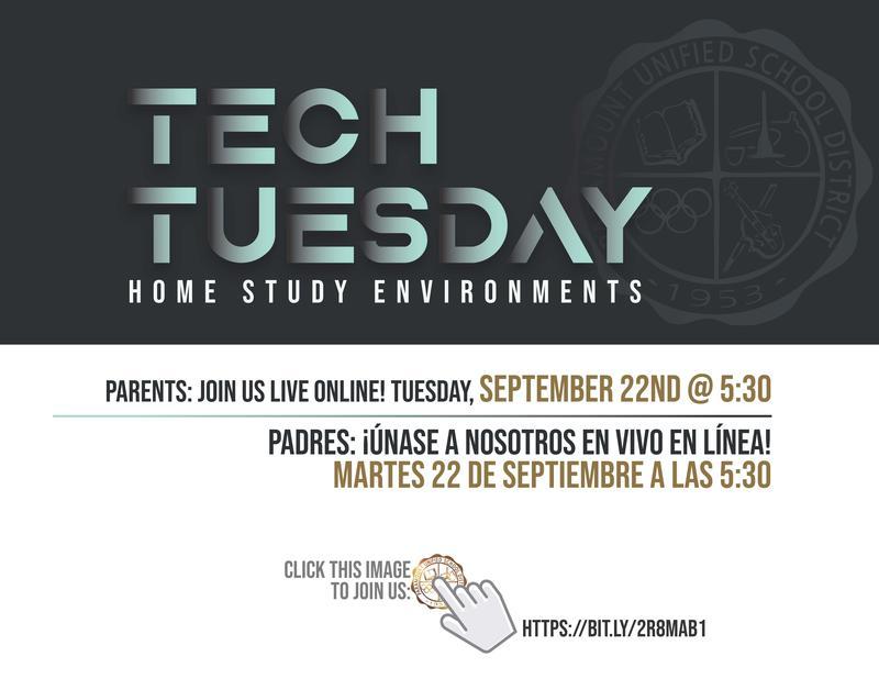Attention Parents: Join us on Tuesday, September 22 at 5:30 for our live Tech Tuesday webinar! / Atención padres: ¡Únase a nosotros el martes 22 de septiembre a las 5:30 para nuestro seminario web en vivo Tech Tuesday! Featured Photo
