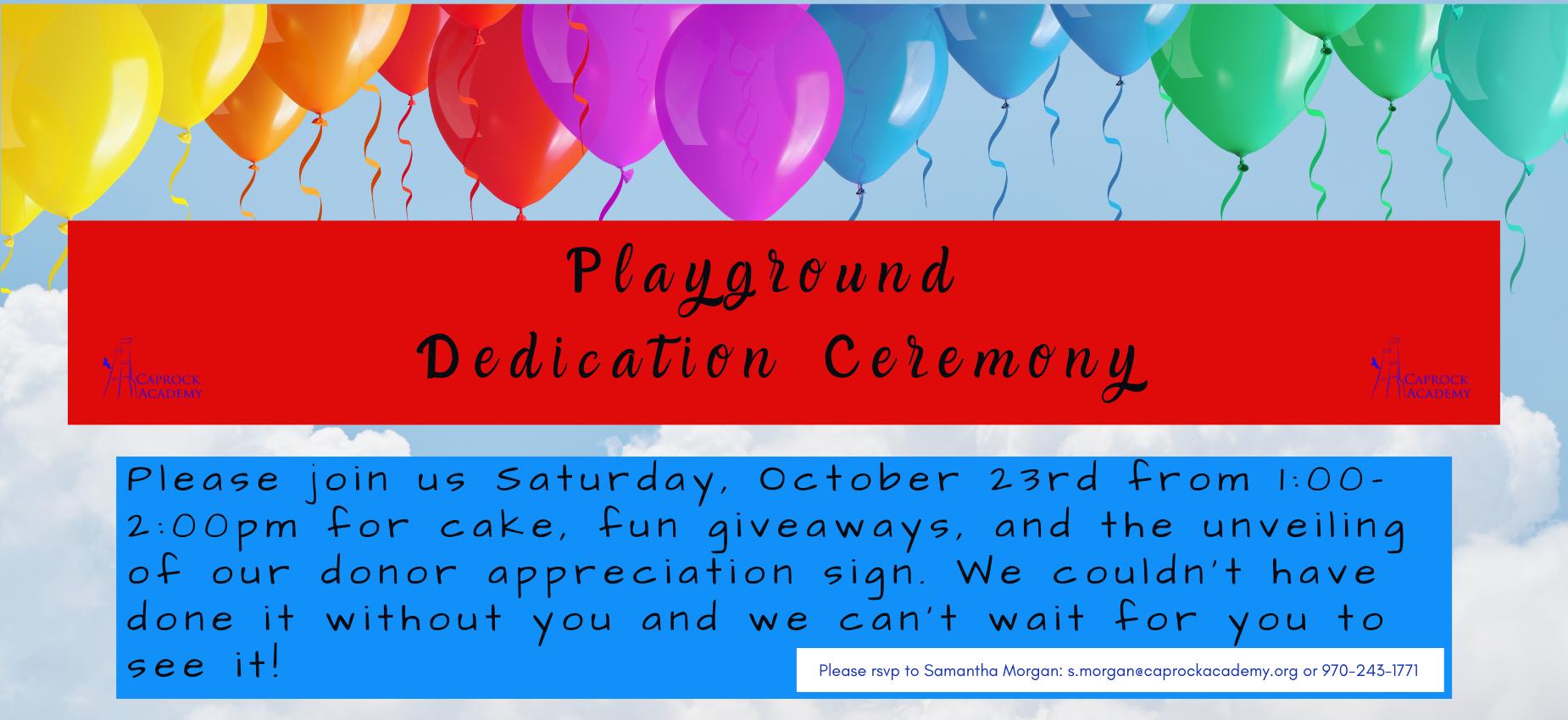 Playground Dedication Ceremony Oct 23rd