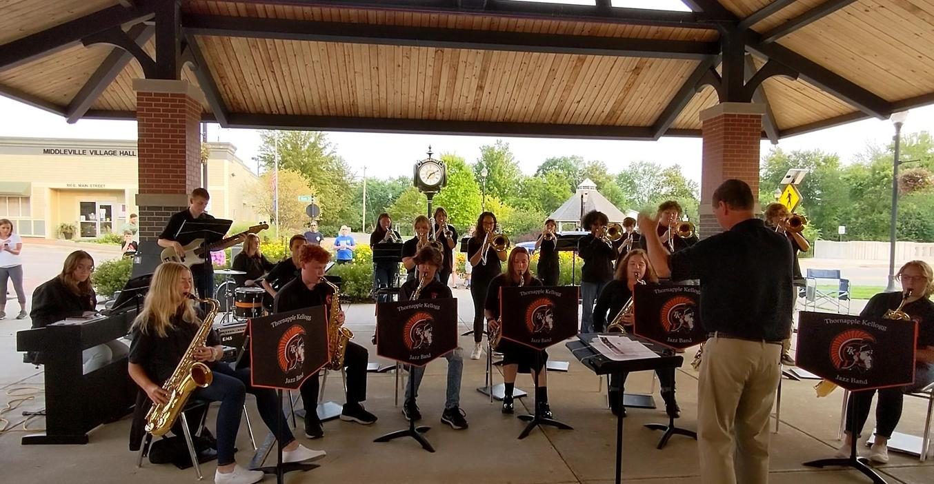 TKHS Jazz Band performs at the Middleville community 9-11 ceremony.
