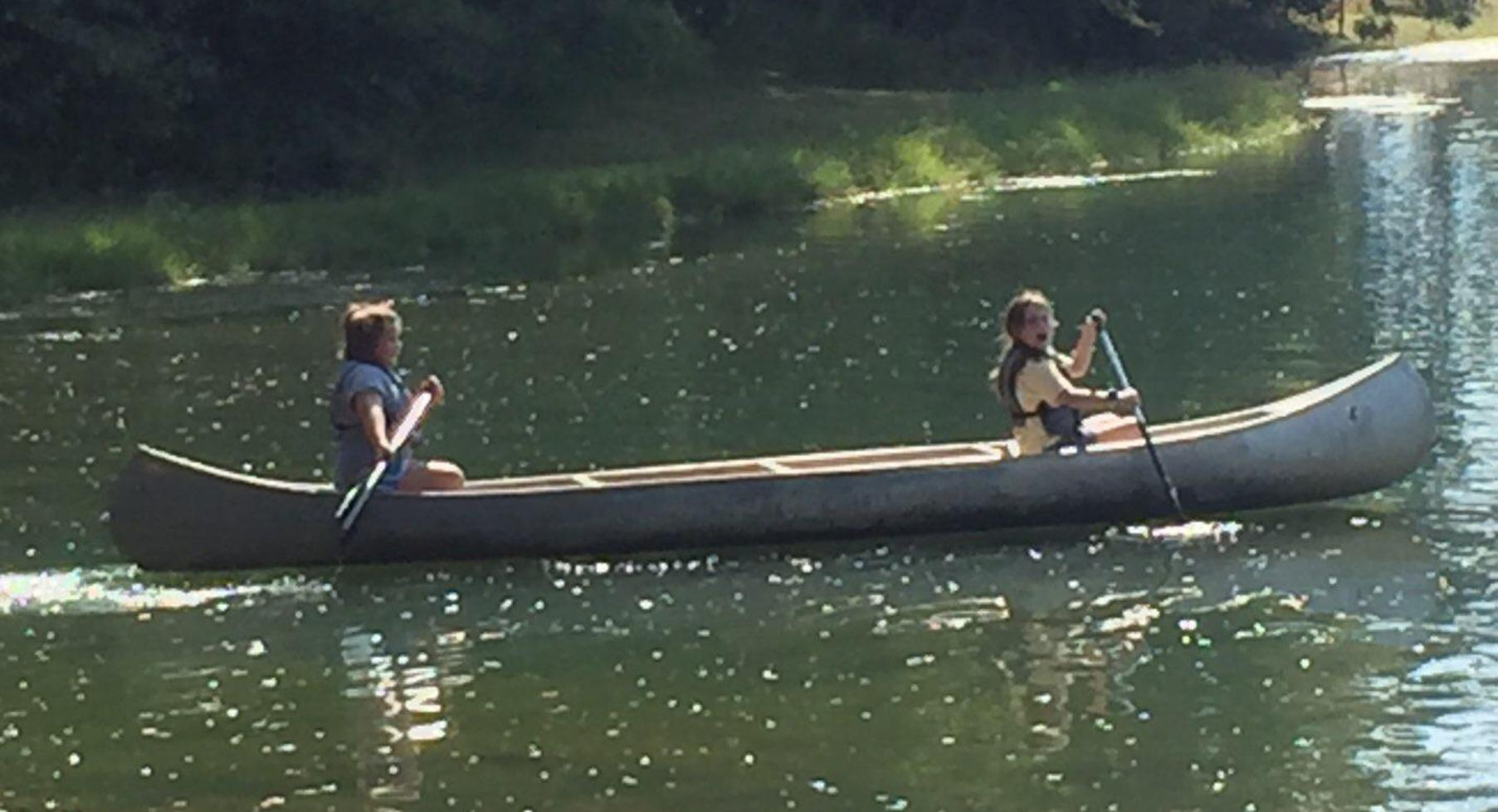 Students in a canoe.