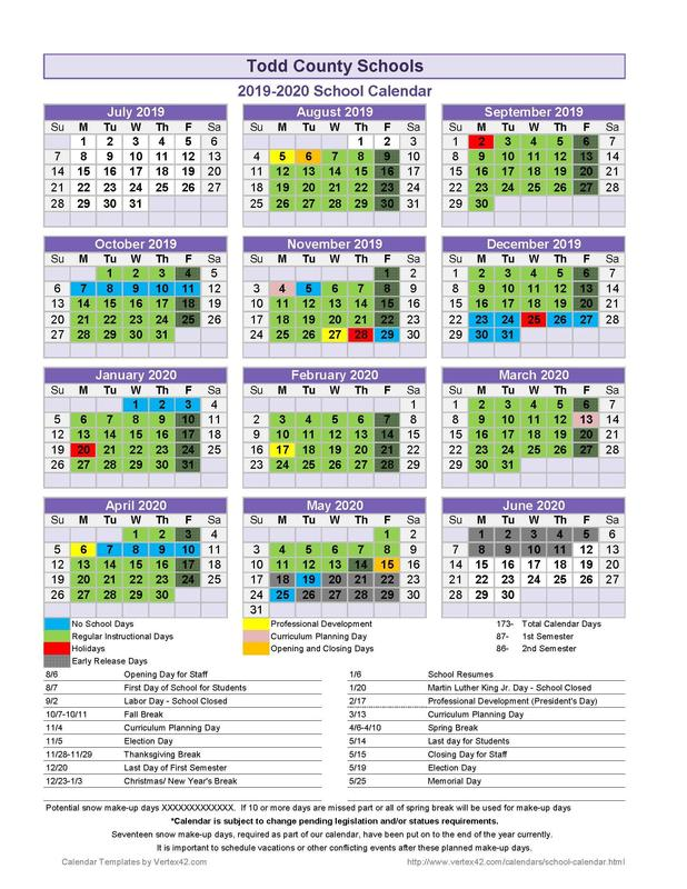 2019-20 Todd County School District School Calendar Featured Photo