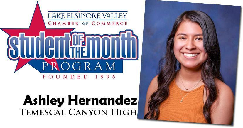 Ashley Hernandez, Temescal Canyon HS, Student of the Month Honoree for September 15, 2020.