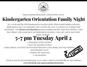 Kindergarten Family Orientation Night