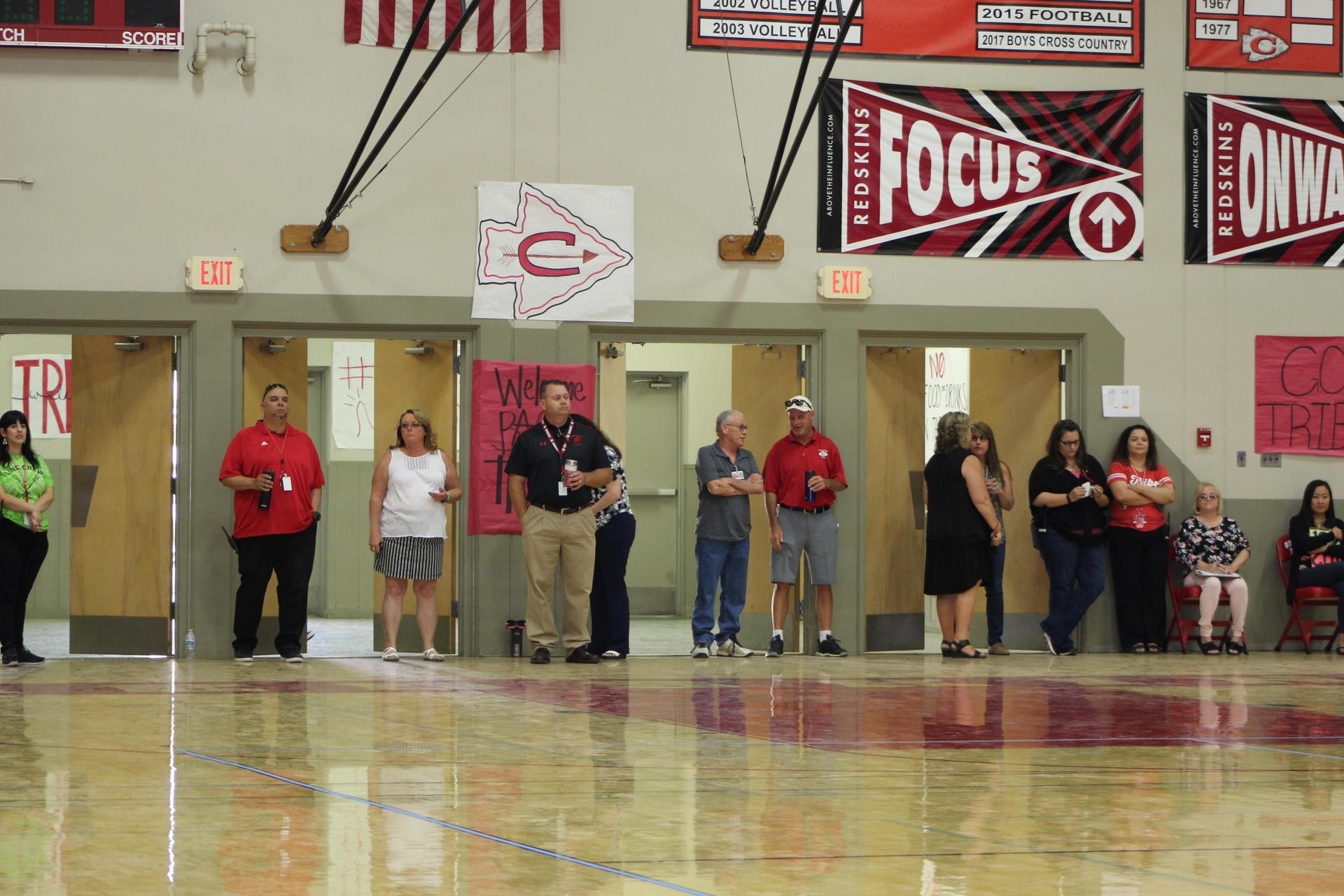Staff at First Day of School Rally