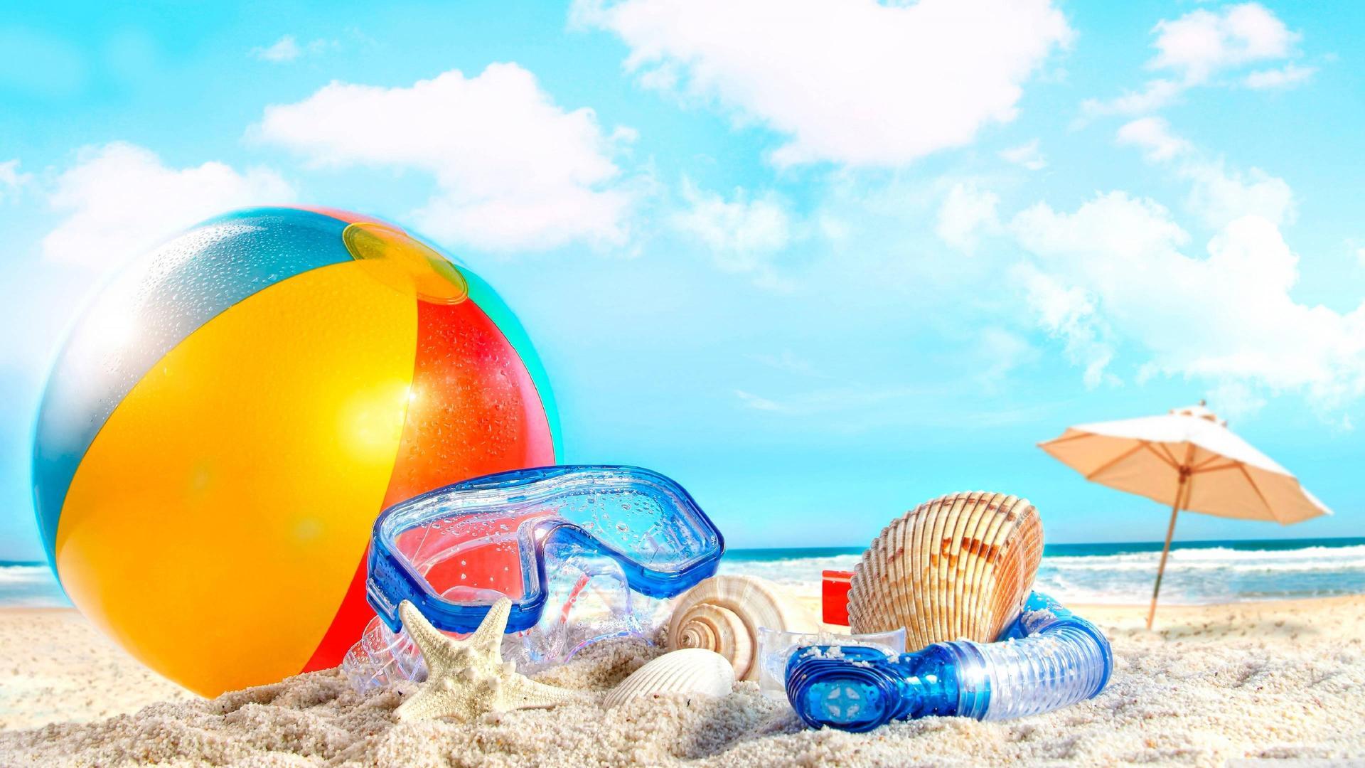 Beach items on the beach