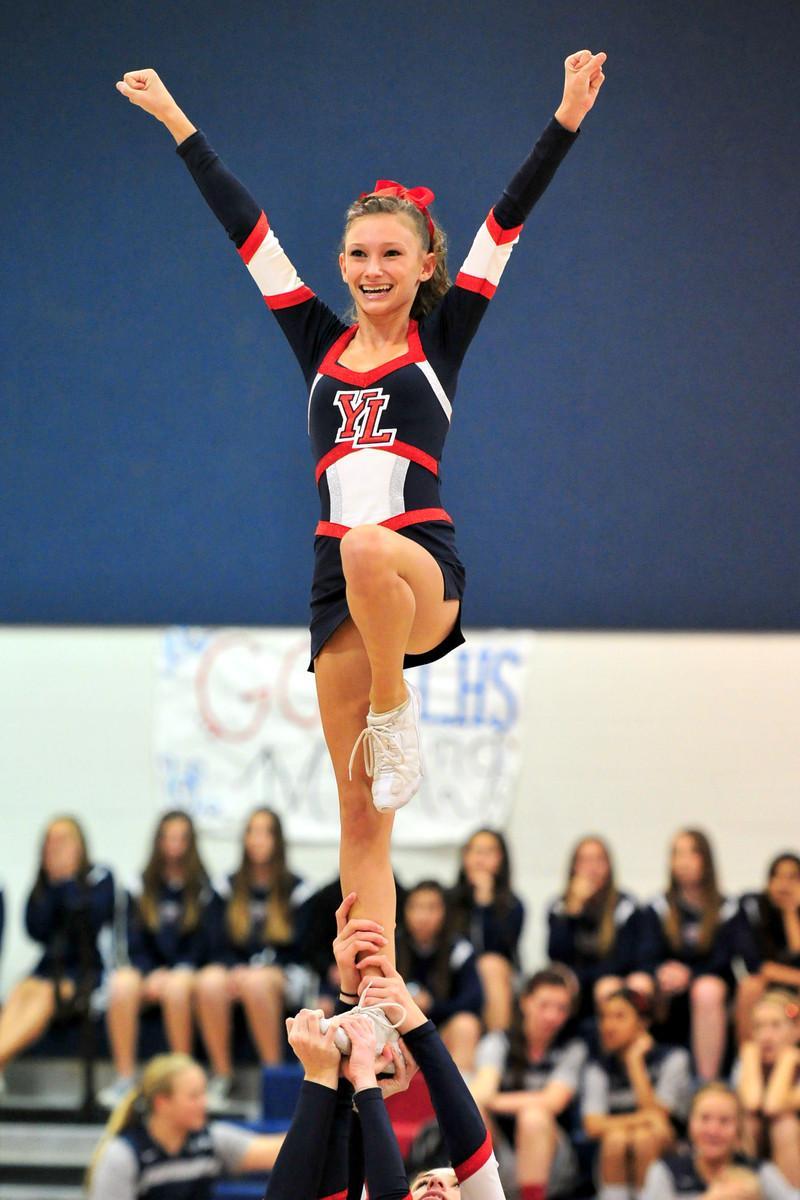 A cheerleader striking a pose