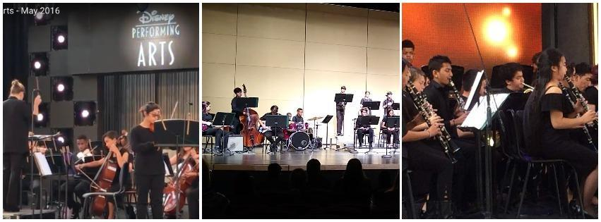 From the Left: Our Chamber Orchestra performs on stage at the Disneyland Resort, our Jazz Band performs at a CMEA Festival at Mills HS in Millbrae, our Wind Ensemble performs on stage at the Disneyland Resort