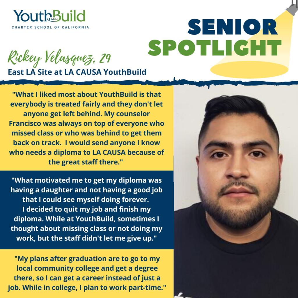 Senior Spotlight for graduate Rickey Velasquez