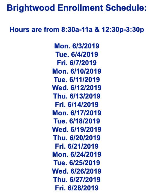 Brightwood Enrollment Schedule Featured Photo