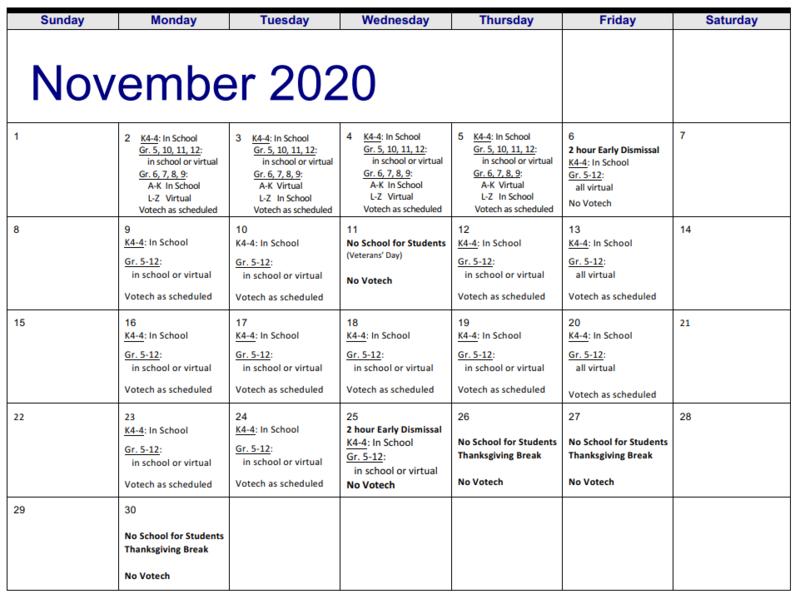 November Student Calendar