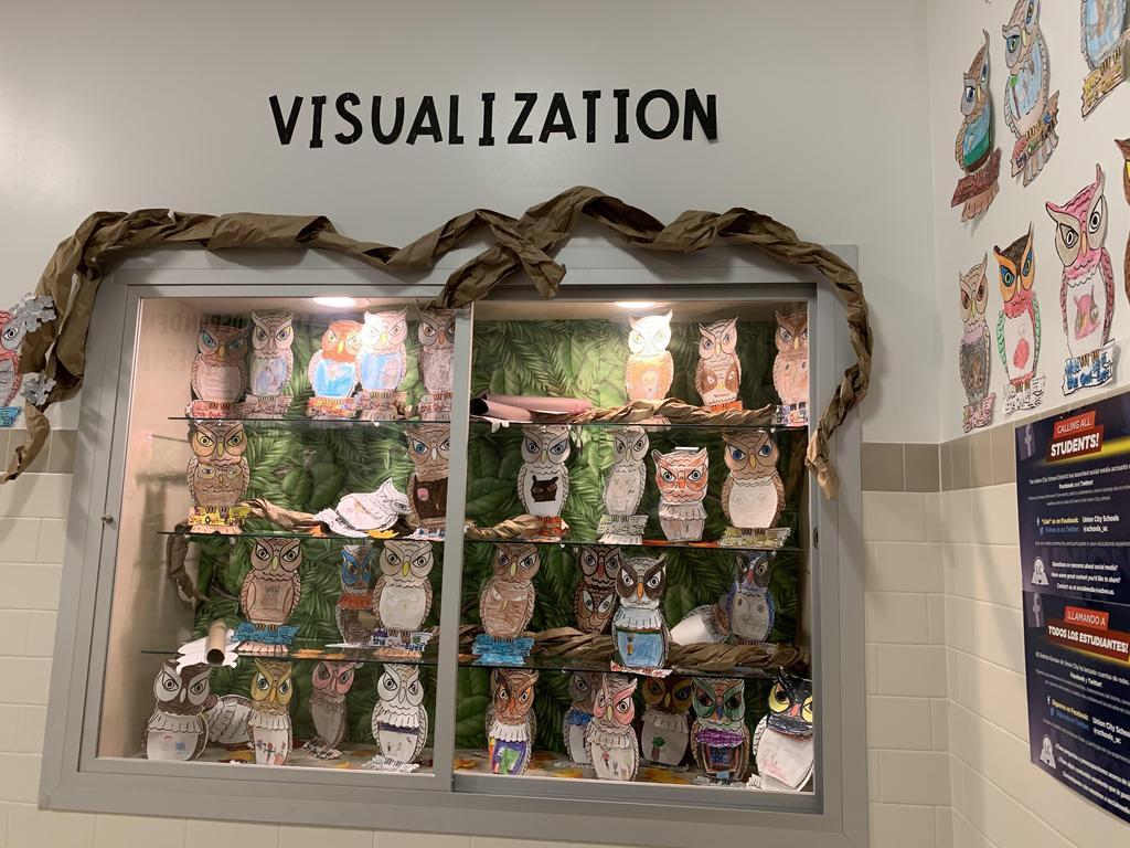 Owl display of student work