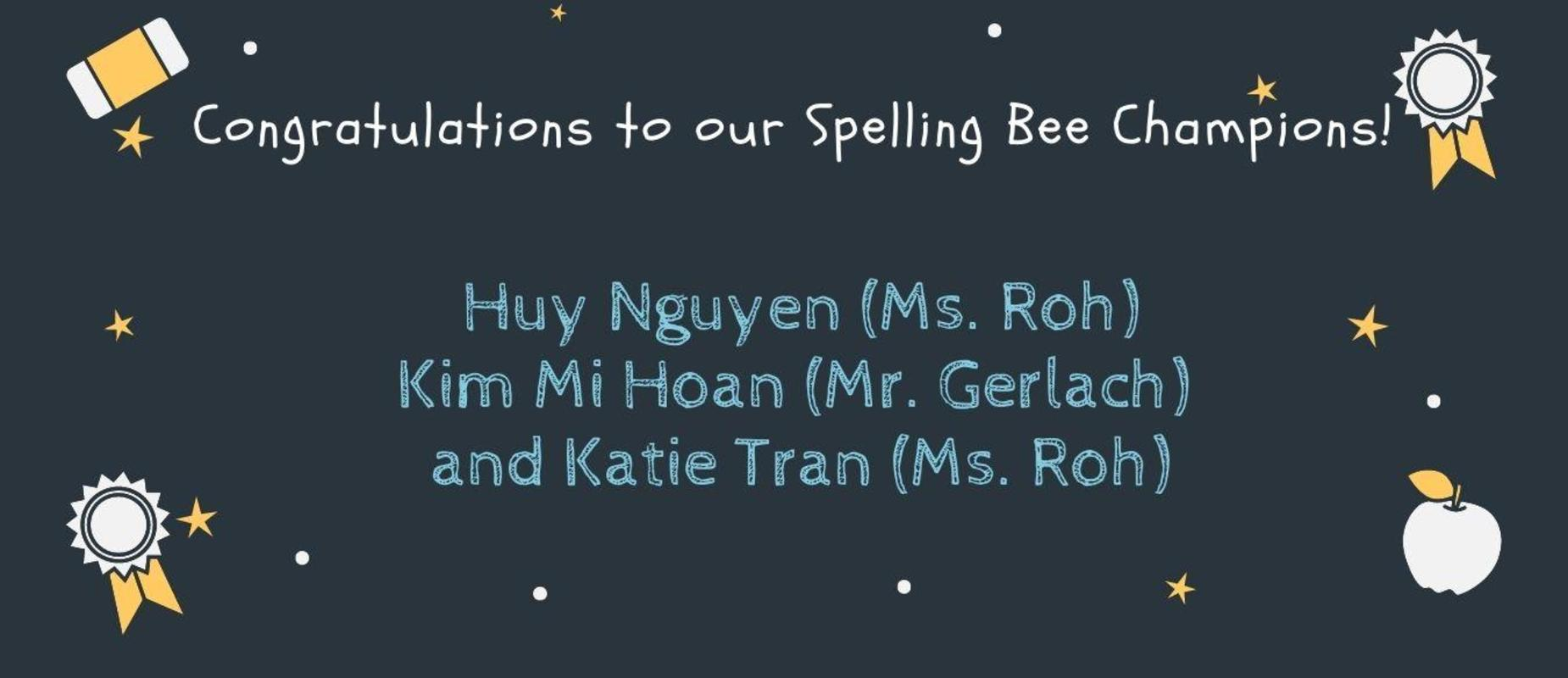 2020 - 2021 Spelling Bee Champions