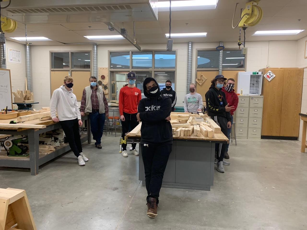 students in construction lab