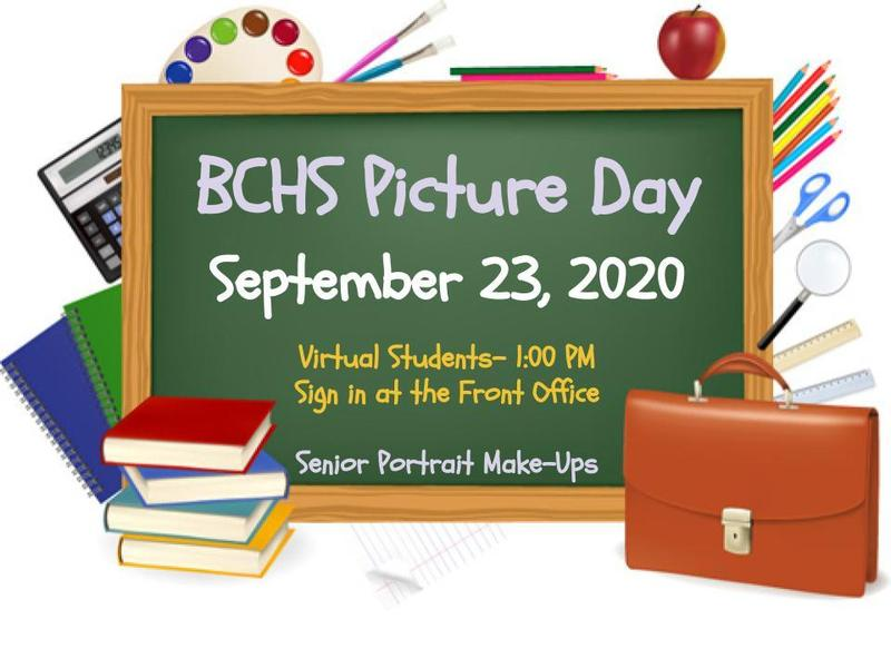 Picture Day Information- Sept. 23  Virtual students report to front office at 1 pm  Senior portrait make ups same day