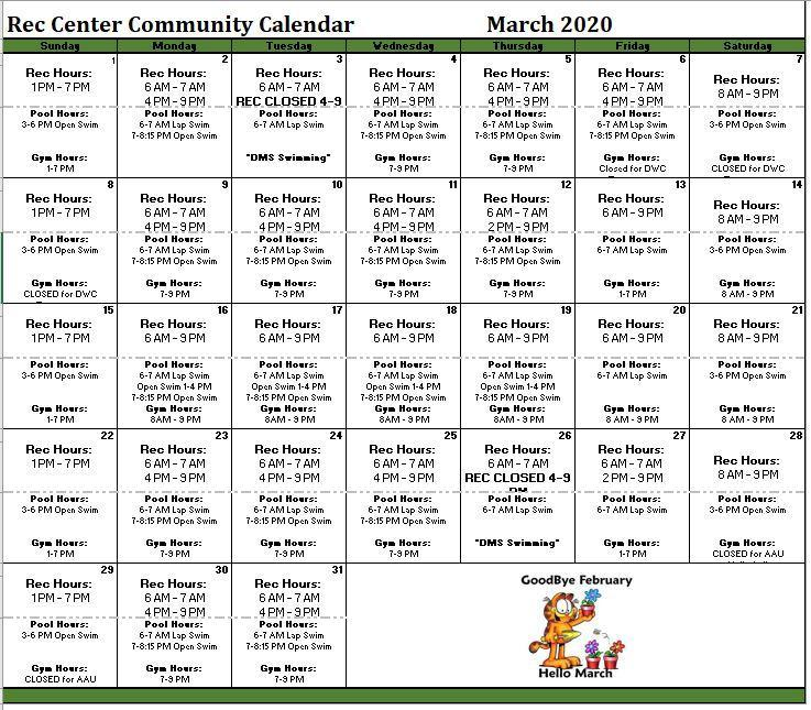 March 2020 Building Calender