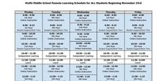 Our Remote Learning Schedule Beginning the Week of Nov. 23rd.