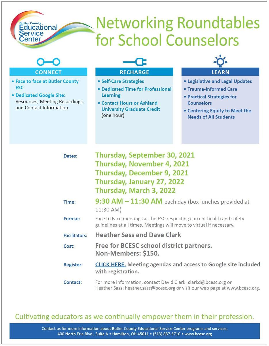 Networking Roundtables for Schools Counselors Flyer