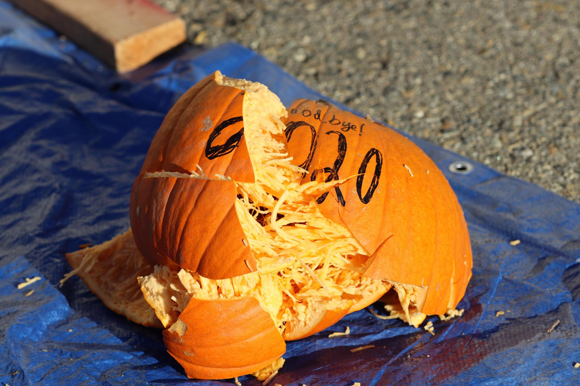 The '2020' pumpkin after impact.