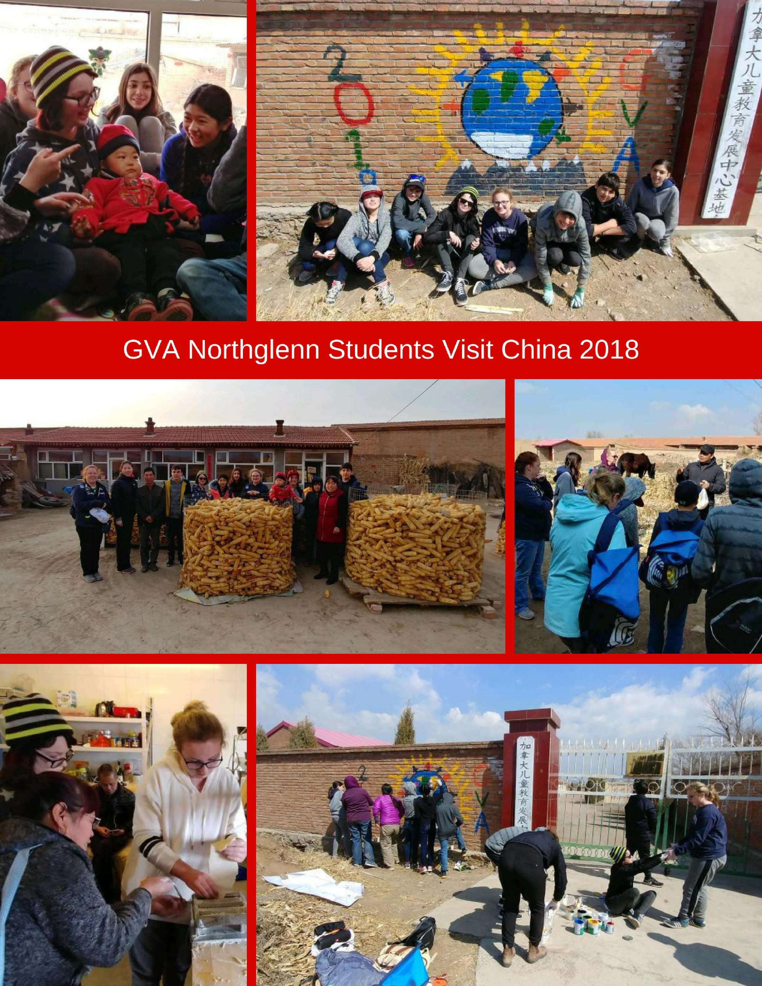 collage of photos of gva students in china