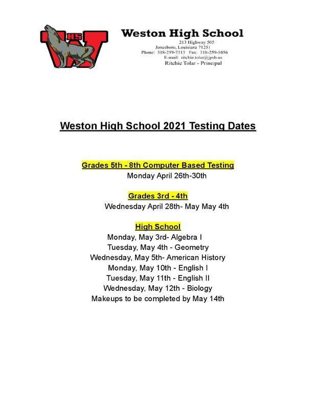 LEAP Testing Dates Thumbnail Image