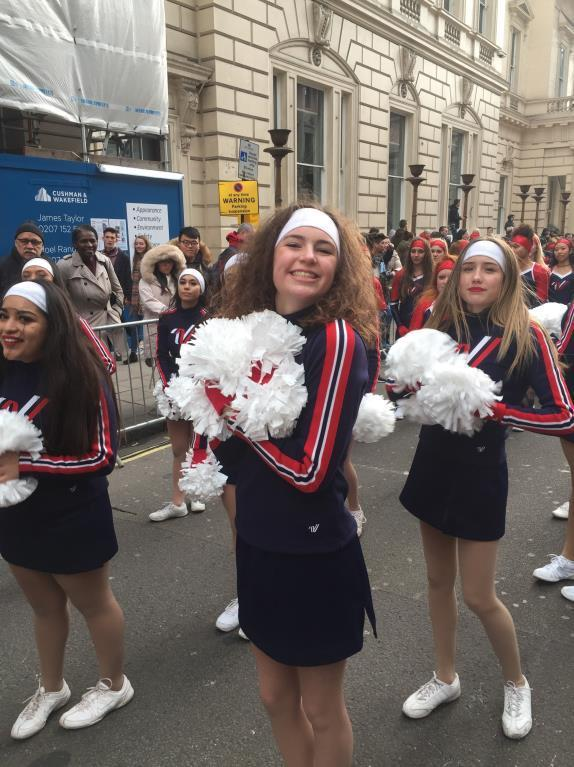 Stella Baty Cheering in the London New Years Day Parade