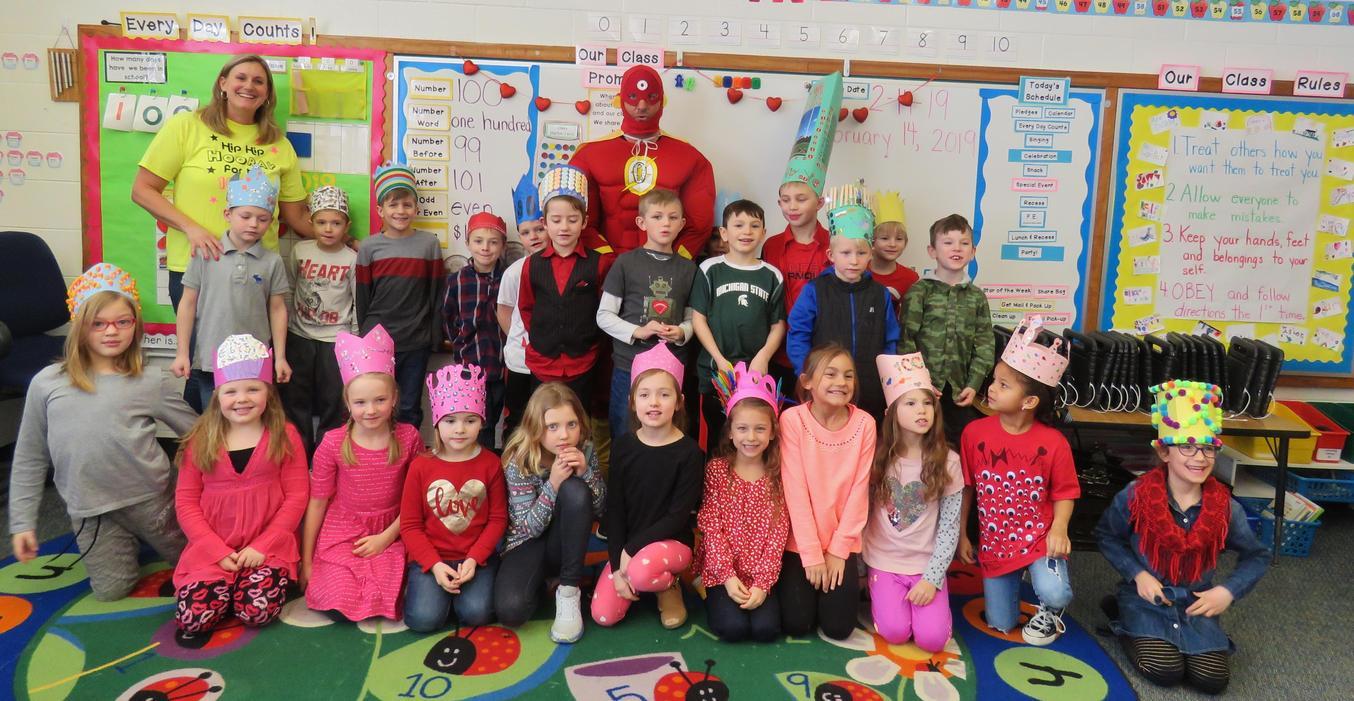 McFall students celebrate 100 days of school with Zero the Hero.