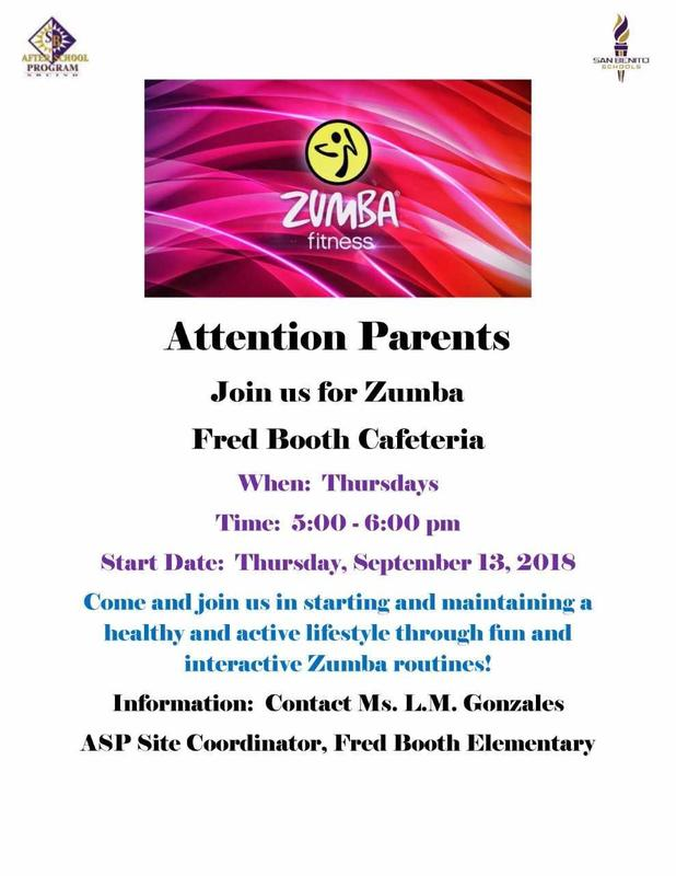 Zumba at Fred Booth cafeteria Thursdays from 5:00 - 6:00.