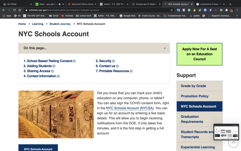 screen shoot of the NYCDOE students account page