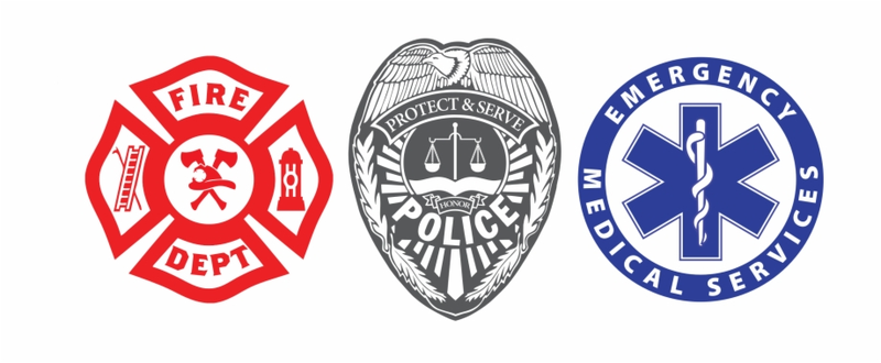 badges for Fire department, police department, ambulance