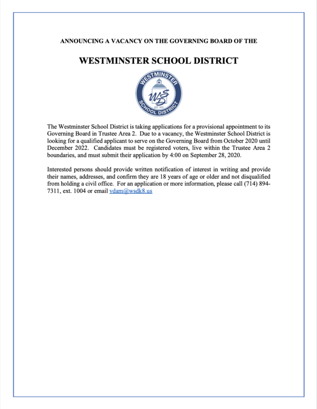 ANNOUNCING A VACANCY ON THE GOVERNING BOARD OF THE