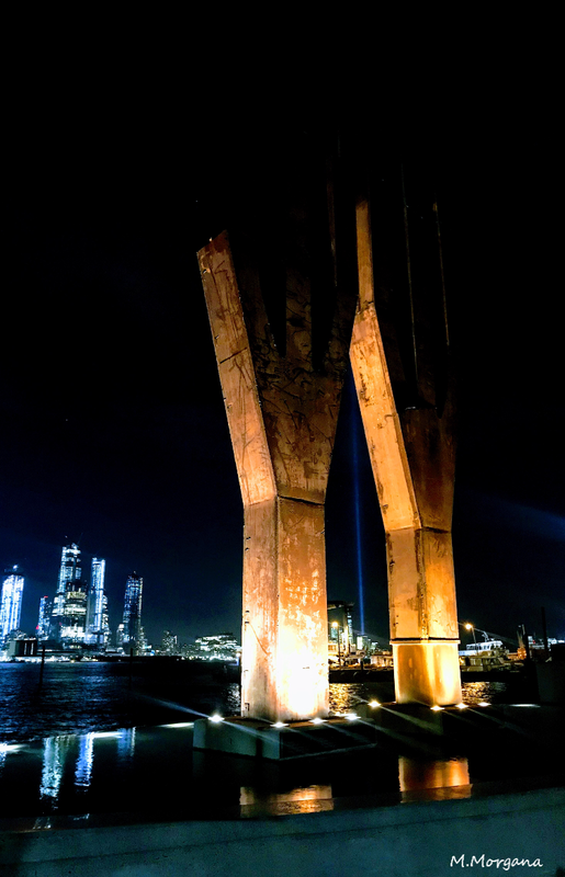 Twin Towers Memorial with Lights