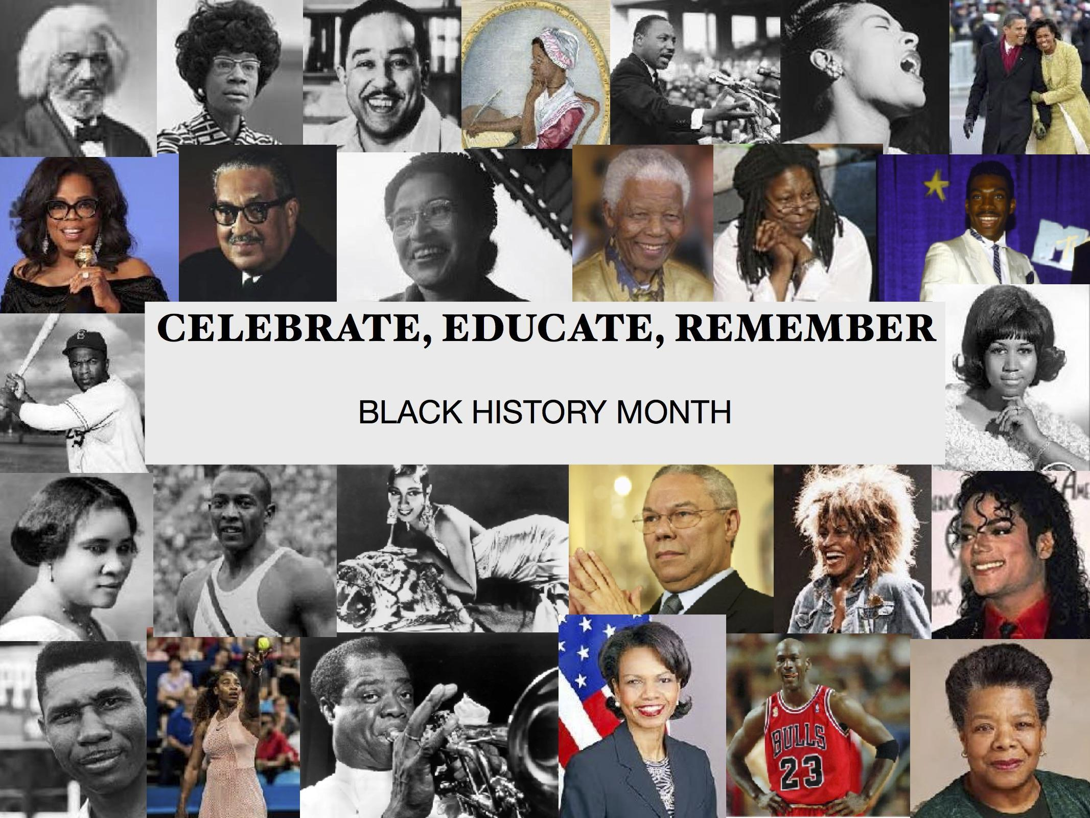 Black history poster with famous african americans