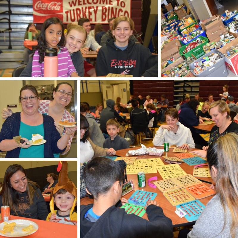Featured Turkey Bingo pictures showing food donations and happy people.