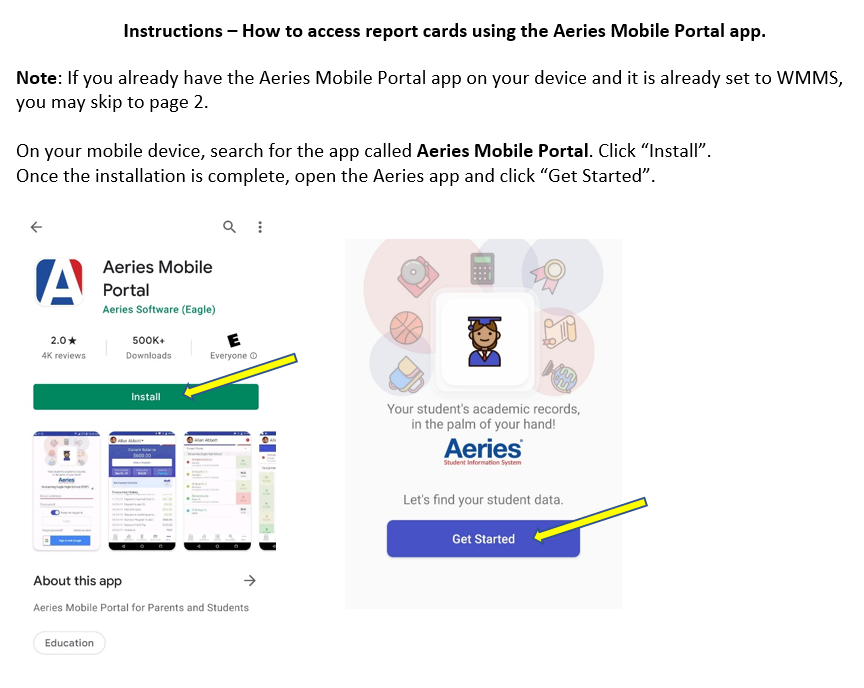 MOBILE AERIES DIRECTIONS