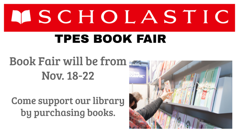 Red Scholastic logo with image of children looking at book shelves