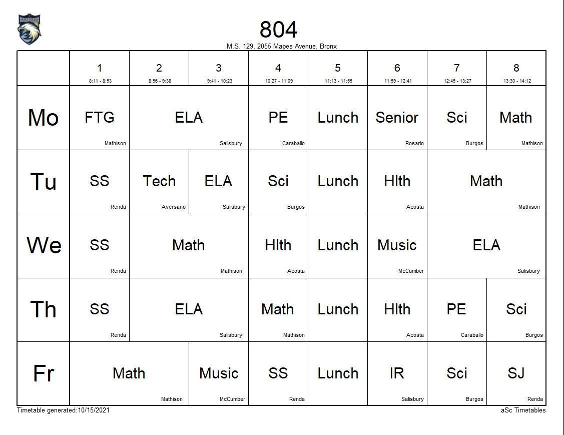 804 class schedule
