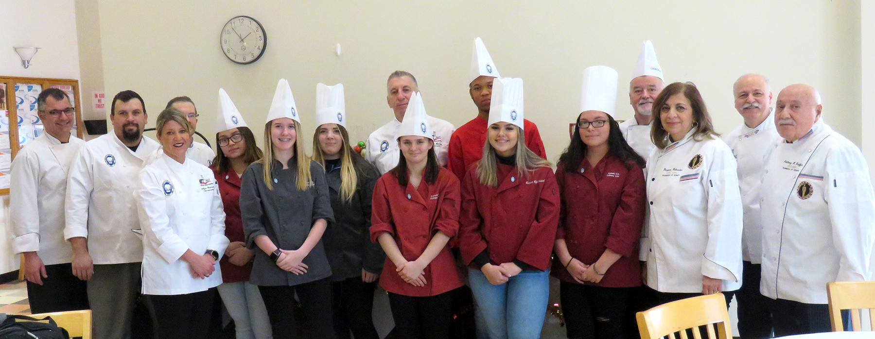 A group of EHS students, faculty, and Epicurean Club of Boston members